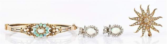 Ladies 14K Gold Diamond and Opal Jewelry Set