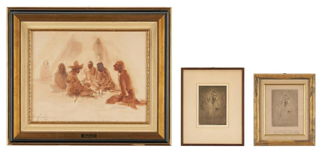 2 Henry Ziegler Etchings & 1 Drawing