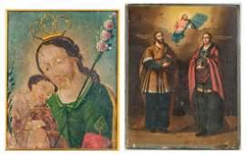 2 Religious Icons, incl. Mexican Retablo & Russian