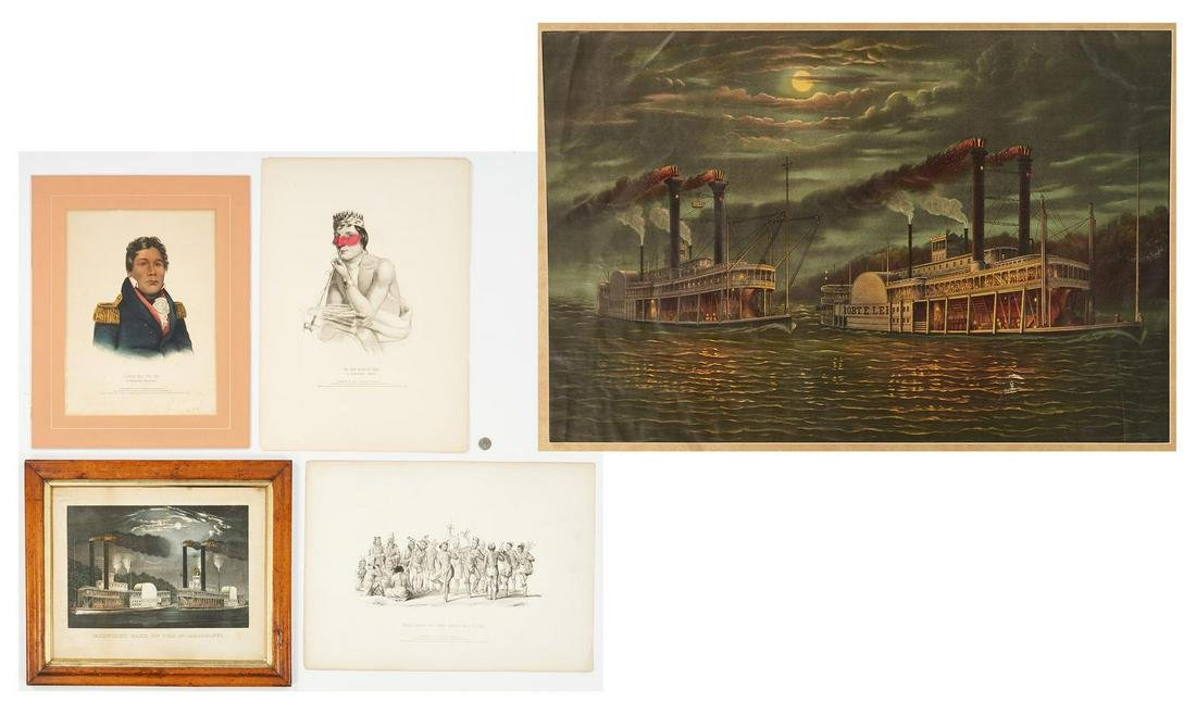 5 19th C. Lithos. incl. Steamboat Races, Native