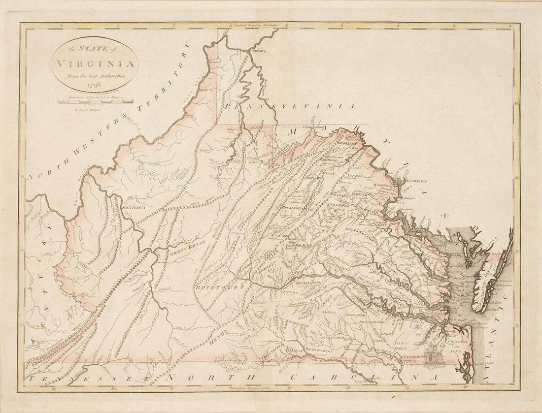 Early Virginia Map, B. Tanner, J. Reid, 1796