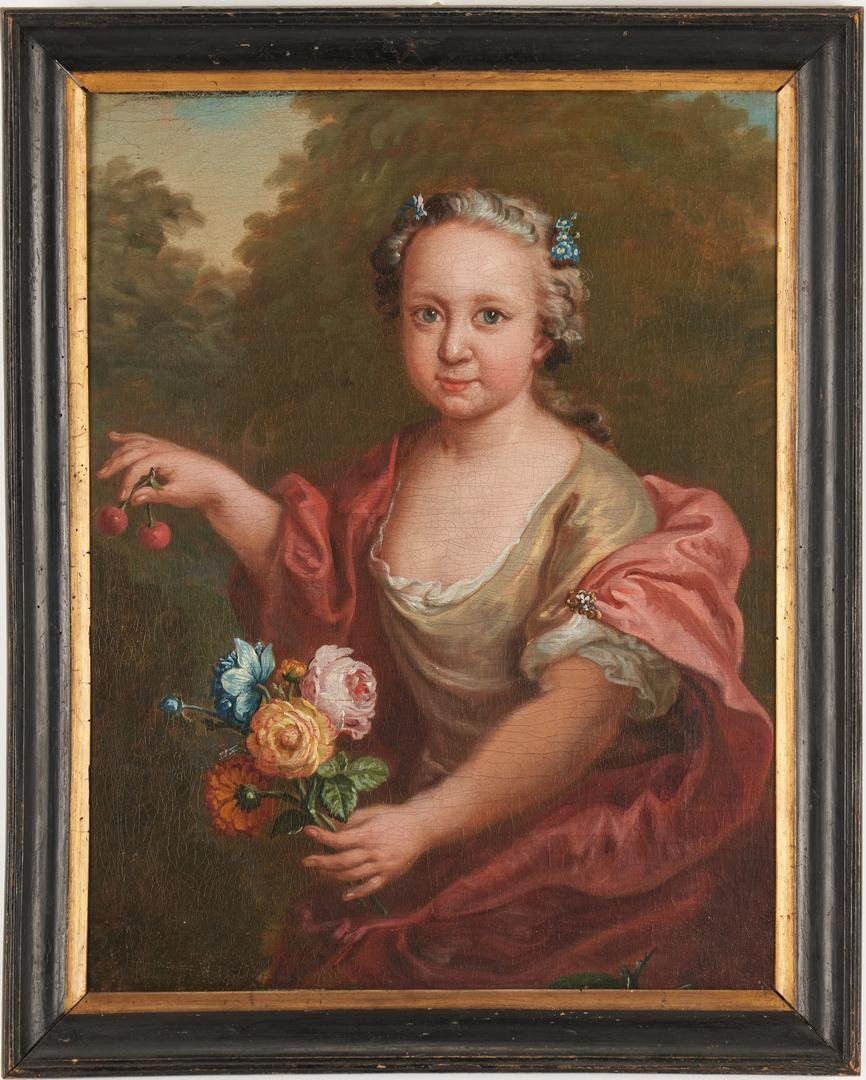 French School 18th C. oil, Girl w/ Cherries and Flowers