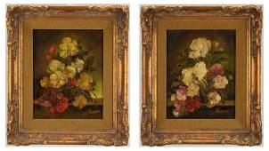 2 O/B Floral Still Life Paintings, H. Garossa
