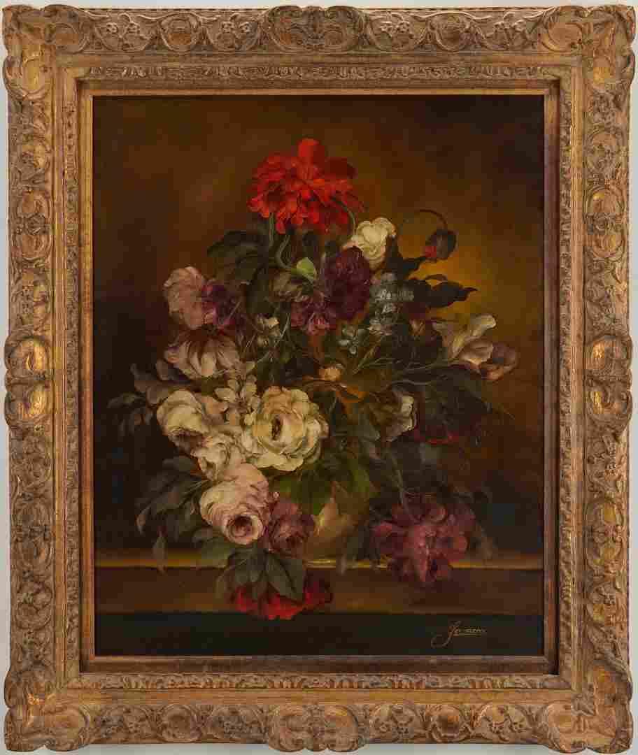 Large O/C Floral Still Life Painting, H. Garossa