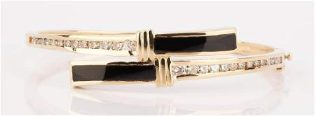 Ladies 14K Black Onyx  Diamond Bangle Bracelet