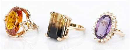 3 Ladies Gold and Gemstone Rings