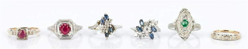 6 Ladies Gold Diamond and Gemstone Rings