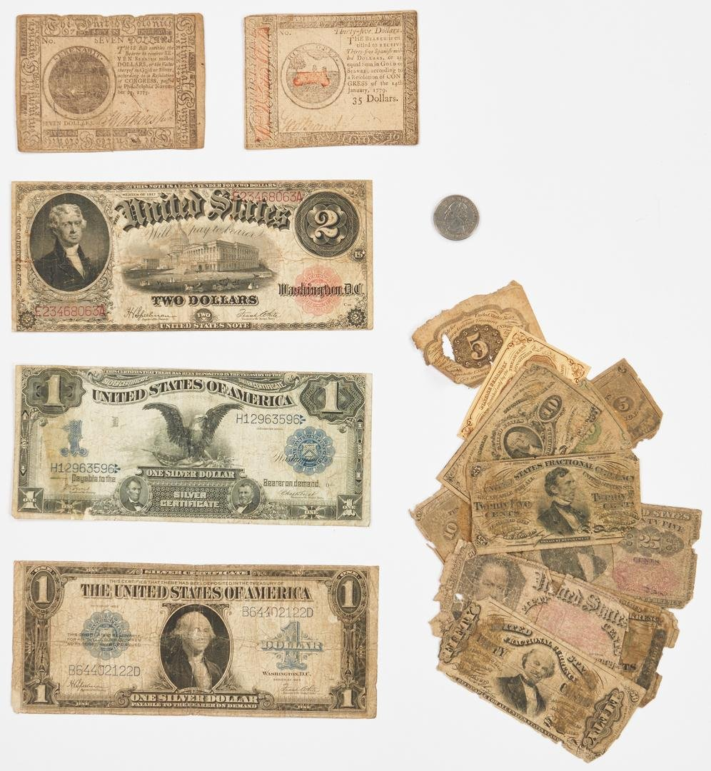 20 American Notes, incl. Colonial, Silver Certs.