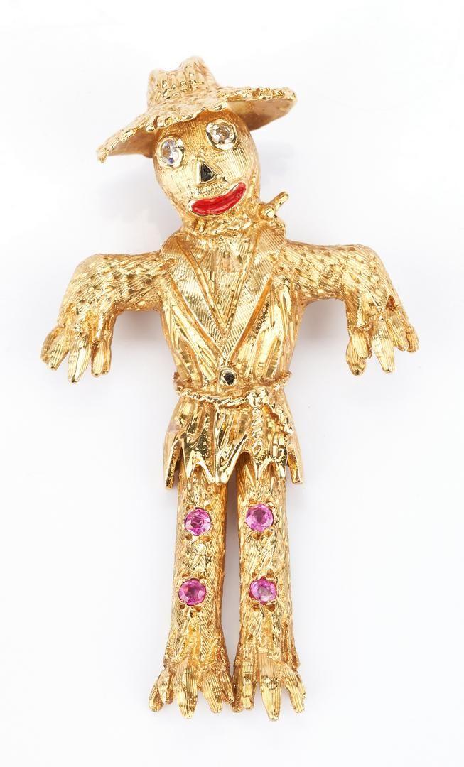Ladies 18K Gold, Diamond, & Sapphire Scarecrow Pin