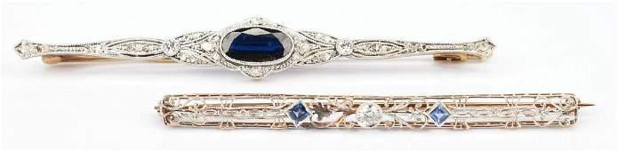2 Ladies Gold, Diamond, and Gemstone Brooches