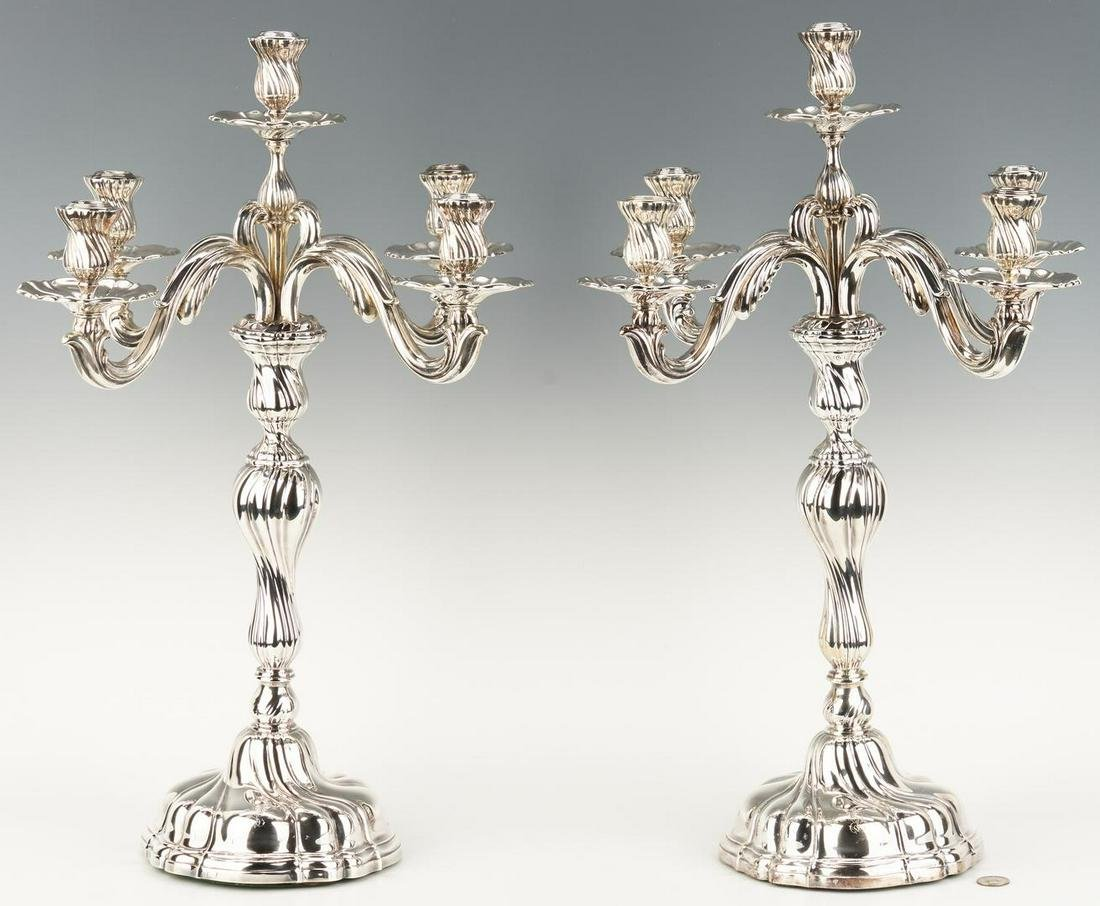 Pair Jugendstil .800 Silver Candelabra