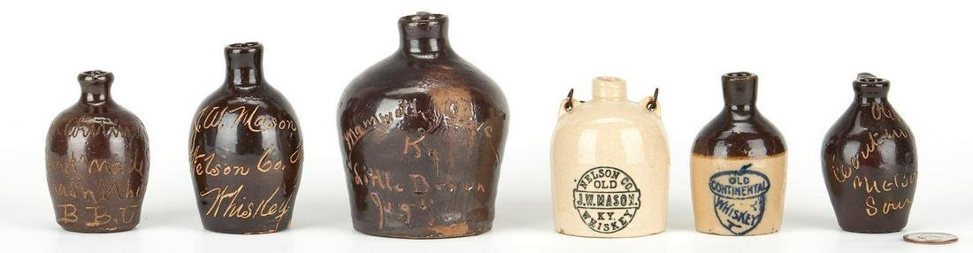 5 Miniature KY Advertising Whiskey Jugs & 1 other
