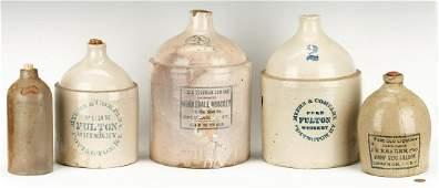 5 Stoneware Liquor Advertising Jugs, KY & OH