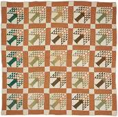 American Pieced Cotton Quilt Pine Tree Pattern