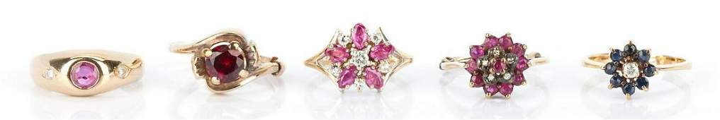5 Ladies 14K Ruby and Sapphire Rings