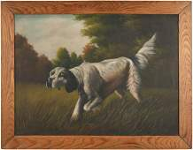 O/C of Hunting Dog, signed T. Bailey