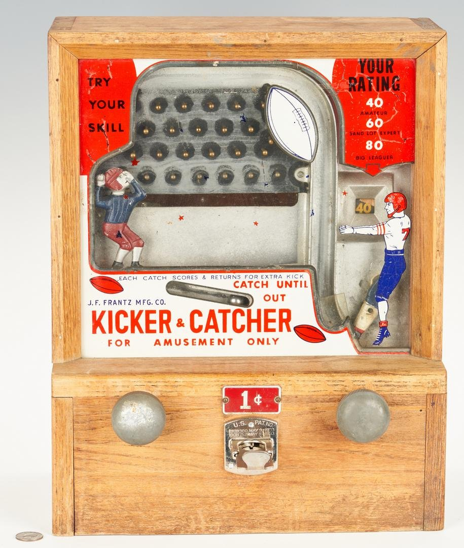 1940s Penny Coin Op Football Game, J.F. Frantz