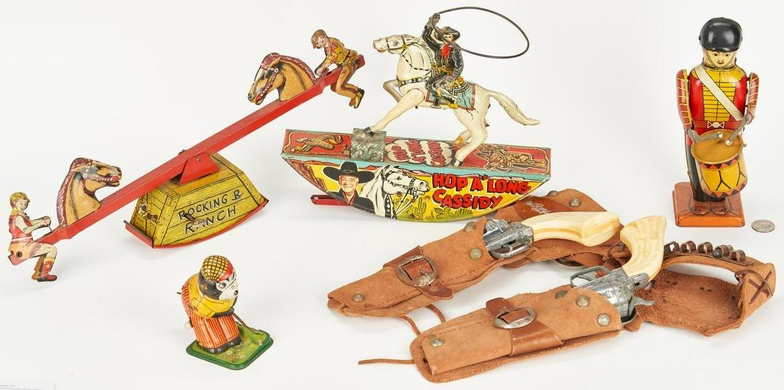 4 Tin Litho Toys plus 2 Pony Boy Guns, Roy Rogers