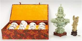 14 Asian Decorative Items, incl. Porcelain Month Wine