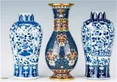 Pr. Chinese Blue and White Vases plus Cloisonne Vase, 3