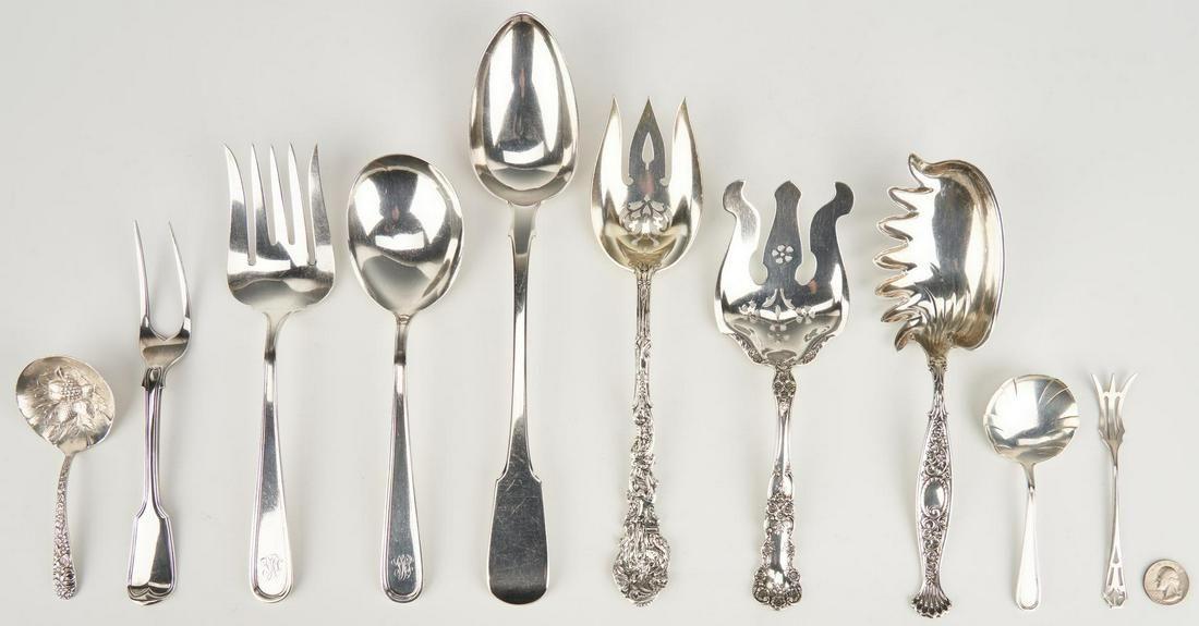 10 Sterling Serving Utensils inc. Stuffing Spoon