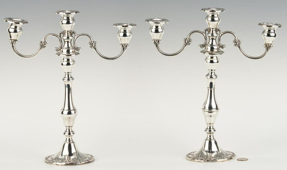 Pair Gorham Chantilly 3-Light Candelabra