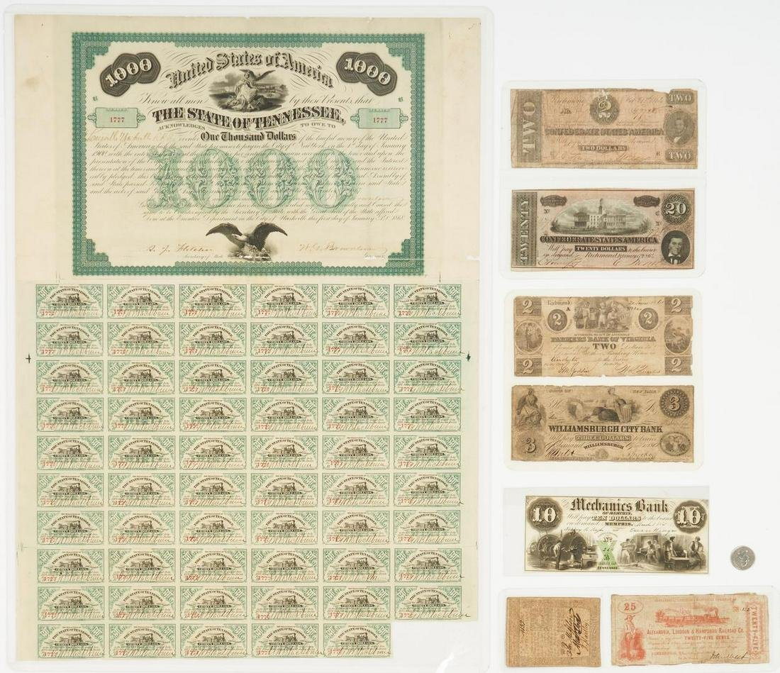 8 Obsolete Currency Notes, incl. TN $1000 Bond