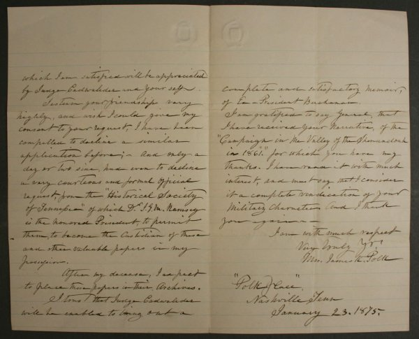 8: Signed letter by First Lady, Sarah Polk