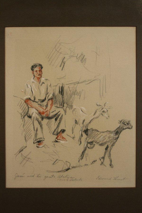 17: Edward Hurst charcoal and pastel drawing