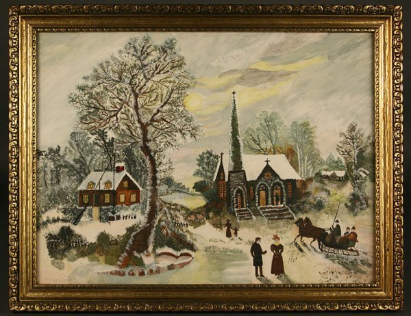 18: Tennessee Village Church painting, circa 1959