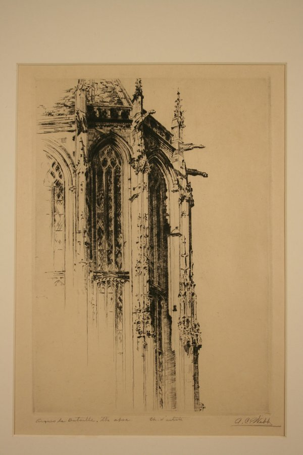 19: Architectural etching pencil signed A. C. Webb