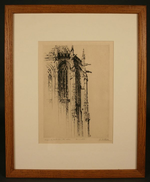 19: Architectural etching pencil signed A. C. Webb - 2
