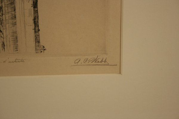 19: Architectural etching pencil signed A. C. Webb - 3