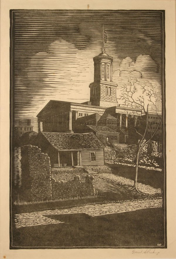 20: Ernest Pickup wood engraving of TN capitol