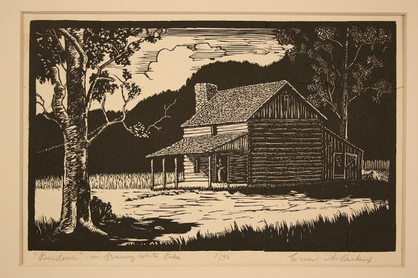 21: Ernest Pickup wood engraving of Granny White cabin