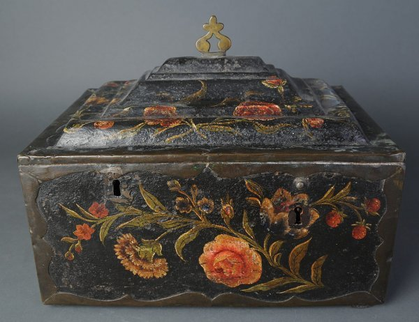 1: Painted tole metal box
