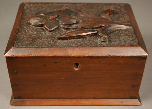 3: Wythe Co. VA dovetailed box with carved flower