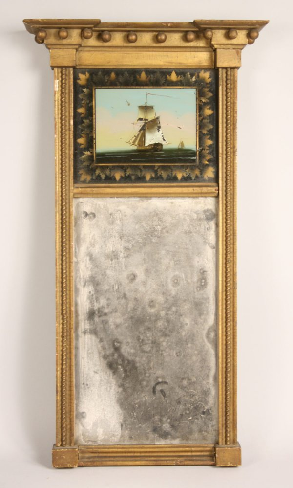4: Federal gilt mirror with reverse painting on glass