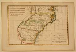 11 French Map of Southern United States by M Bonne 1