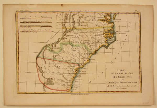 11: French Map of Southern United States by M. Bonne, 1