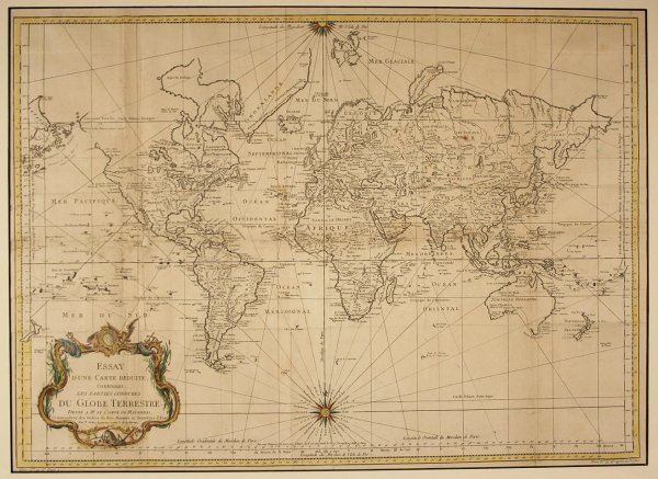 12: Bellin Antique 1748 World Map, French