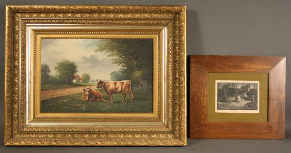 23: Oil on canvas of cows & wood engraving of cow