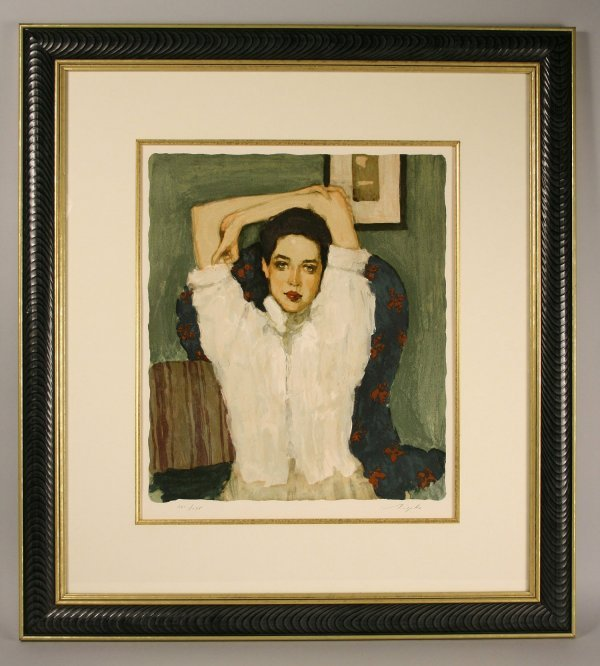110: Signed lithograph of Woman, Malcolm T. Liepke - 2