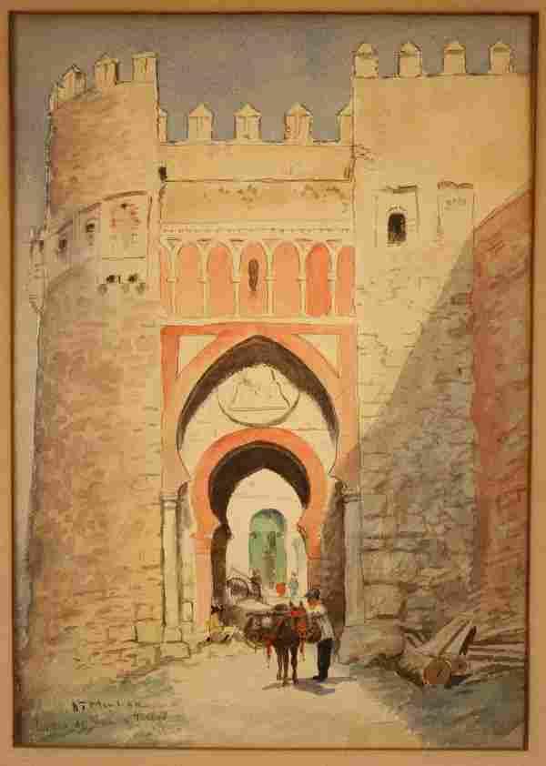 Addison T. Millar watercolor of Puerta del Sol
