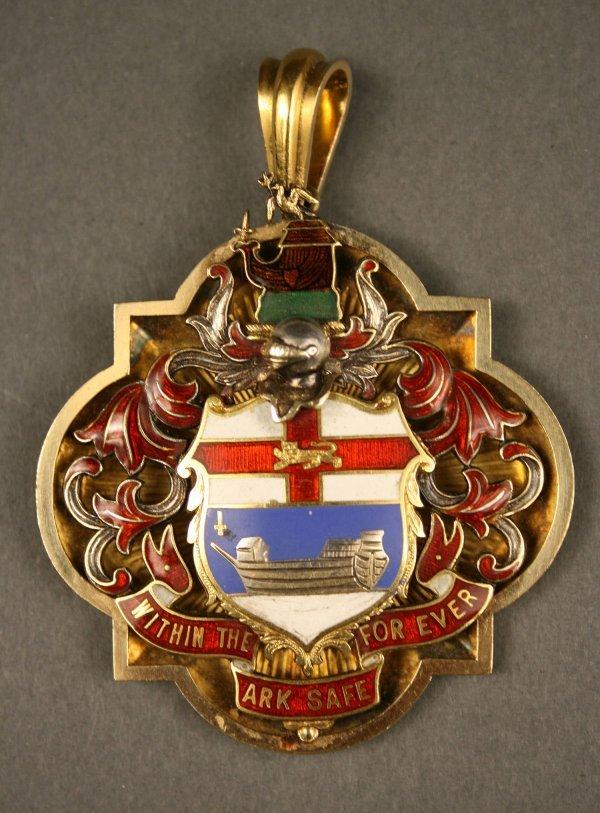 238: English gold enameled medal, London hallmarks