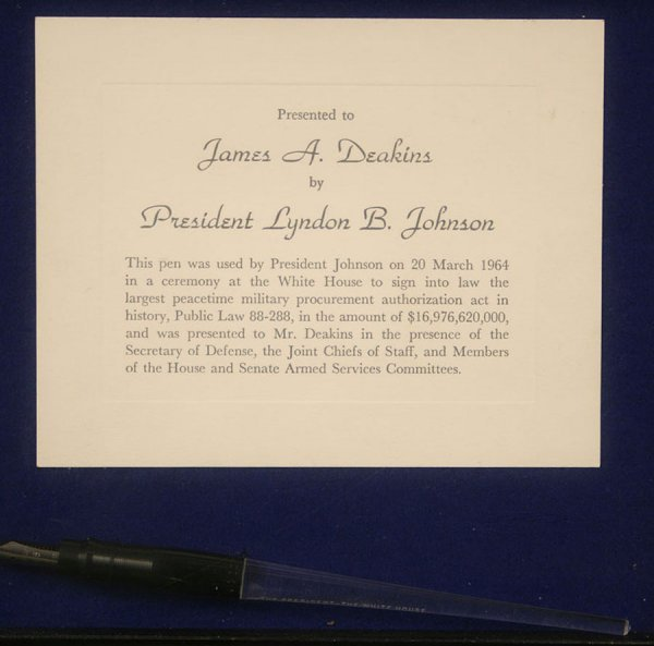 337: President Johnson signing pen with certificate - 2
