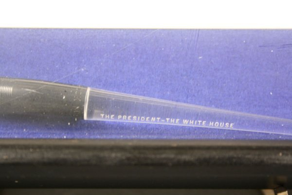 337: President Johnson signing pen with certificate - 3