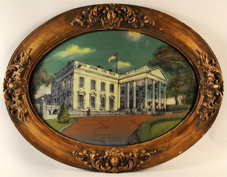 380:  Oval reverse painting on glass of the White House