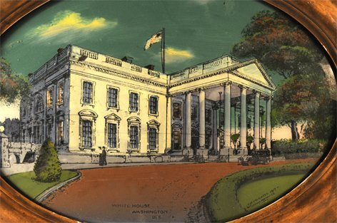 380:  Oval reverse painting on glass of the White House - 2