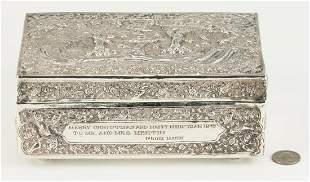 Asian Silver Repousse Box w/ Inscription
